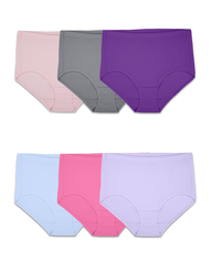 Women's Breathable Cotton-Mesh Brief Panty, 6 Pack ASSORTED