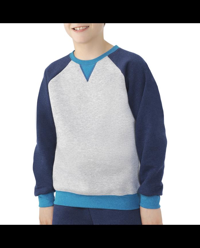 Boys Fleece Raglan Crewneck Sweatshirt Athletic Heather and True Blue