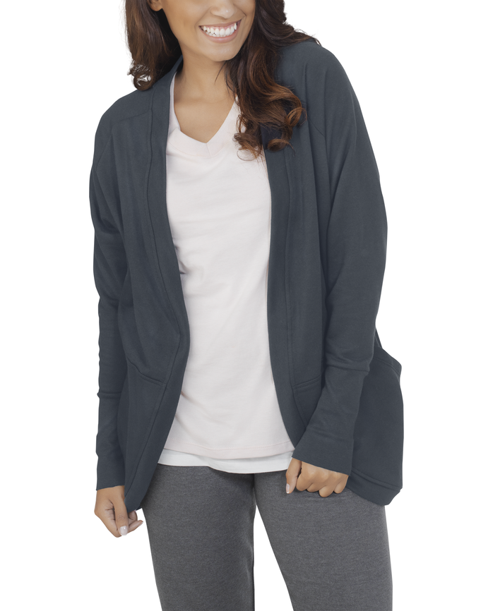 Women's Essentials Cocoon Wrap Cardigan, 1 Pack Charcoal Heather