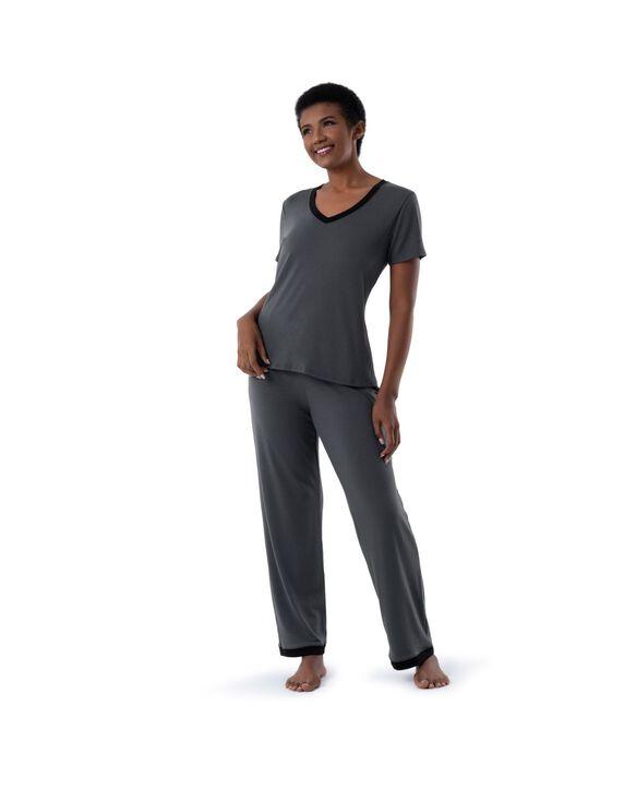 Women's Soft & Breathable V-Neck T-shirt and Pants, 2-Piece Pajama Set MONUMENT