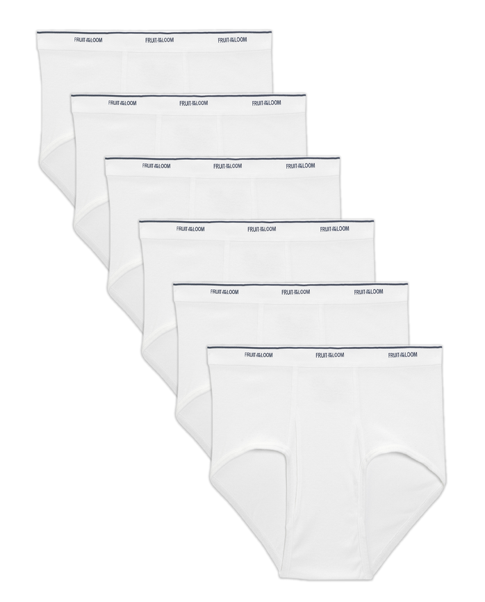Men's Cotton White Briefs Extended Sizes, 6 Pack