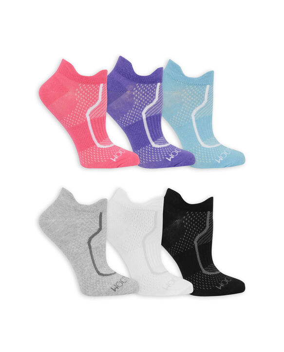 Women's CoolZone Cotton Lightweight No Show Tab Socks, 6 Pack PINK, PURPLE, BLUE, BLACK, GRAY, WHITE
