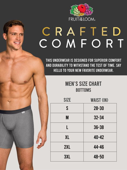 Men's Crafted Comfort  Black Heather Boxer Brief, 3 Pack, Extended Sizes Black Heather