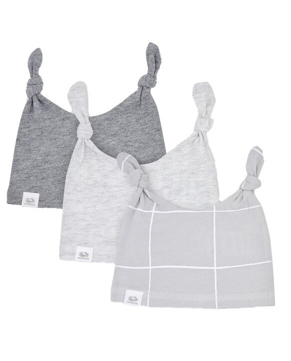 Baby Breathable Hats, 3 Pack Grey