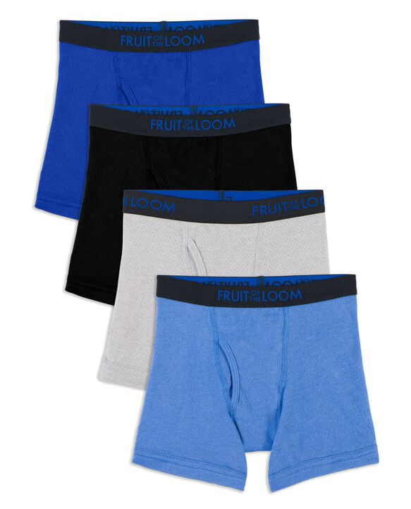 Toddler Boys' Breathable Cotton-Mesh Boxer Briefs, 4 Pack Assorted