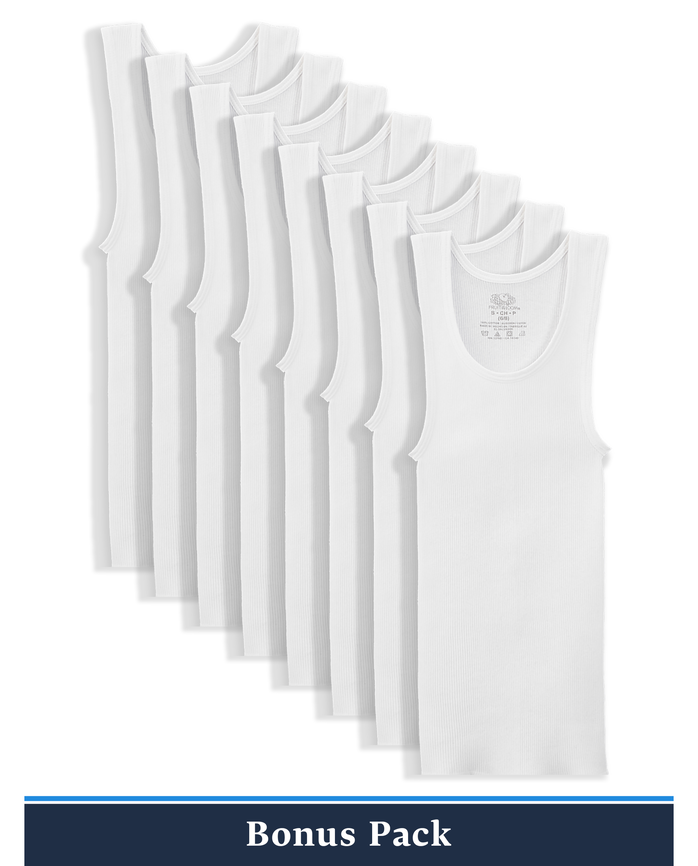 Boys' Classic White A-Shirts, 8 Pack