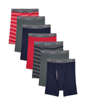 Men's CoolZone Fly Stripe and Solid Boxer Briefs, 7 Pack