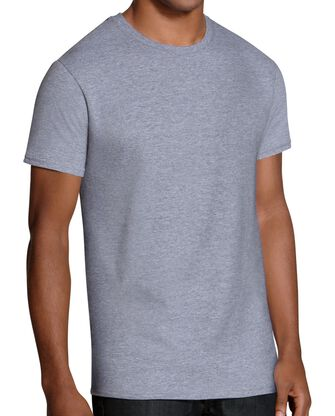 Men's Short Sleeve Black/Gray  Crew T-Shirts, 6 Pack, Extended Sizes