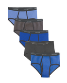 Men's Stripe and Solid Fashion Briefs Extended Sizes, 5 Pack Assorted