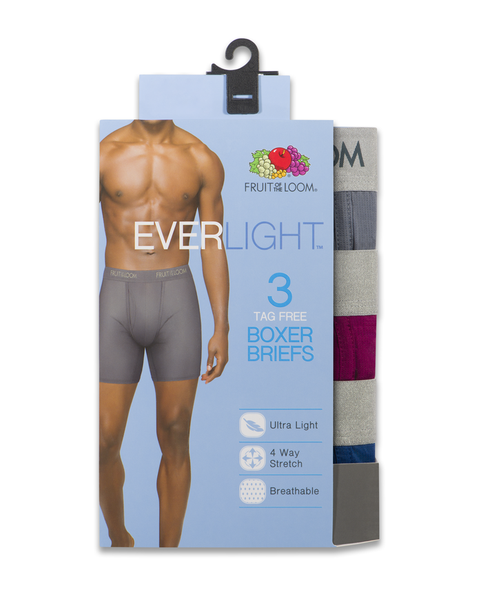 Men's EverLight Assorted Boxer Briefs, 3 Pack Assorted