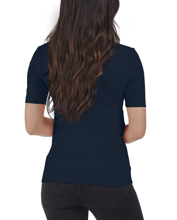 Women's Seek No Further Mock Neck Ribbed T-Shirt Navy Nights