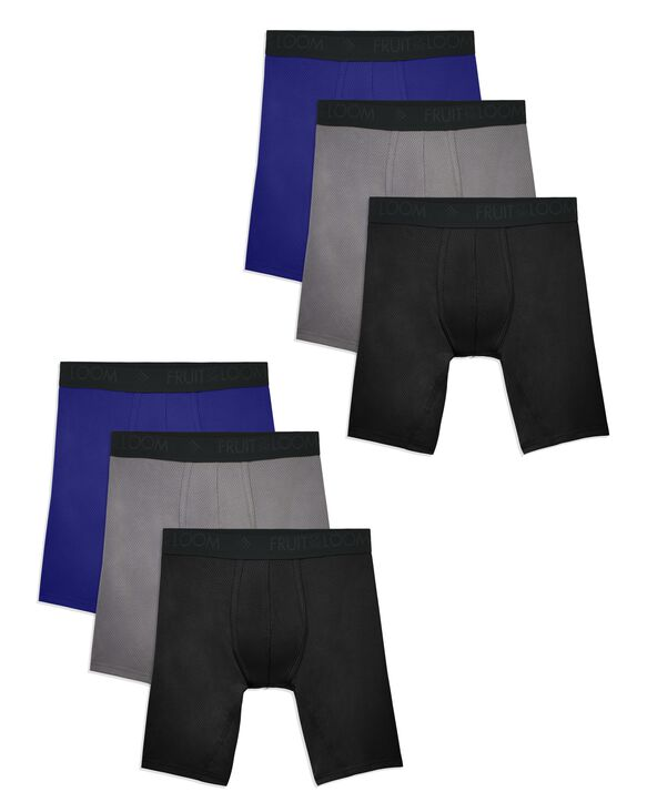 Men's Breathable Lightweight Micro-Mesh Long Leg Boxer Briefs, Super Value 6 Pack ASSORTED