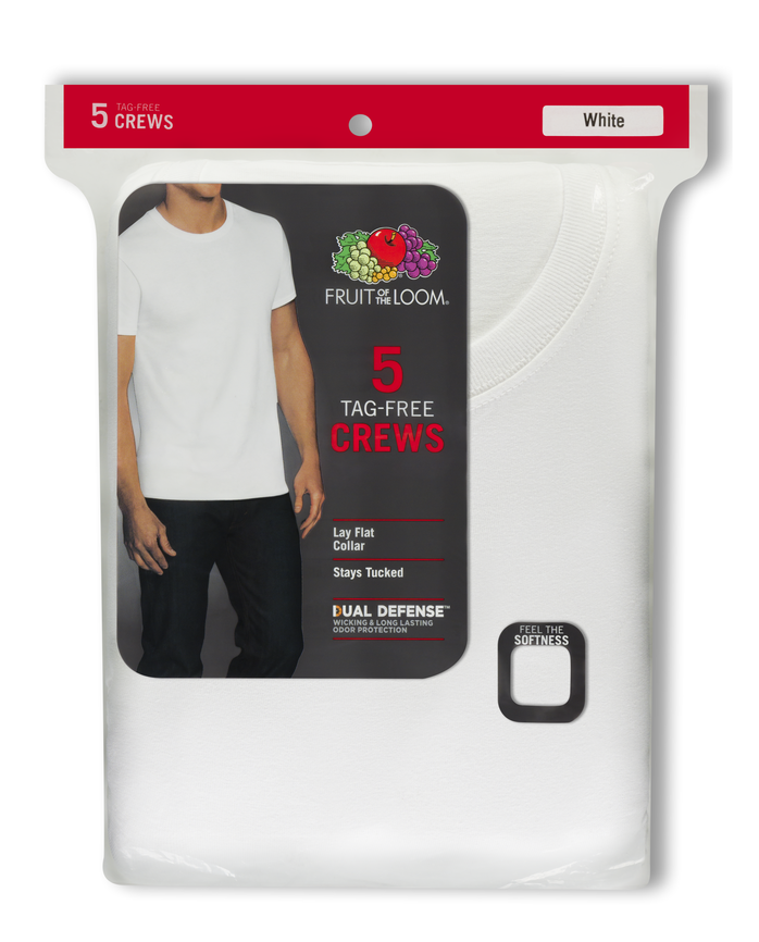 Men's Short Sleeve White Crew T-Shirts, 5 Pack, Extended Sizes White