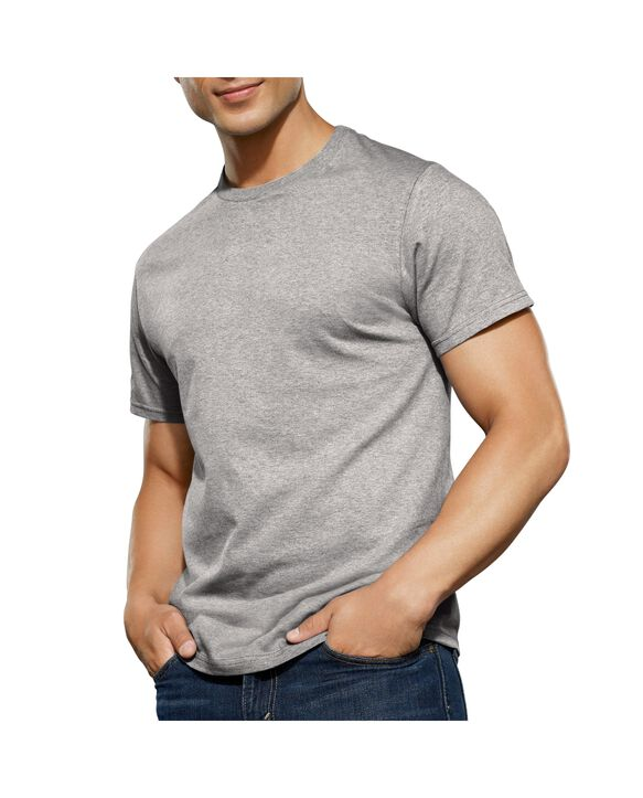 Men's Short Sleeve Black and Gray Crew T-Shirts, Extended Sizes, 4 Pack Black and grey