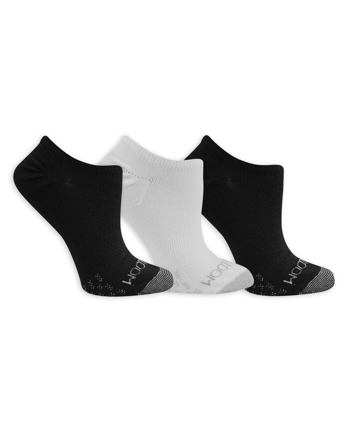 Women's On Her Feet Lightweight No Show Socks, 3 Pack, Size 4-10 BLACK, WHITE
