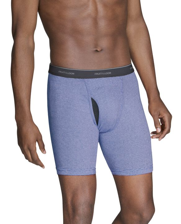 Men's CoolZone Fly Stripe and Solid Boxer Briefs, 7 Pack ASSORTED