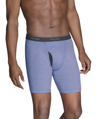 Men's CoolZone Fly Stripe and Solid Boxer Briefs, Extended Sizes, 4 Pack