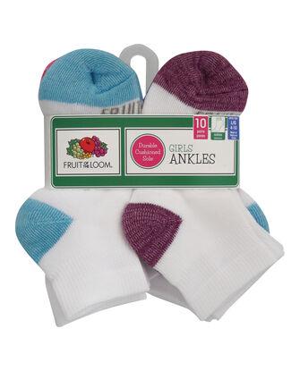 Girls' Cushioned Ankle Socks, 10 Pack