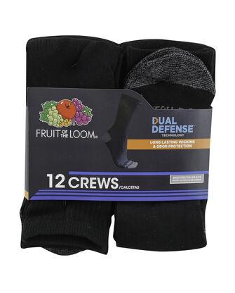 Men's Dual Defense Crew Socks, 12 Pack, Size 6-12