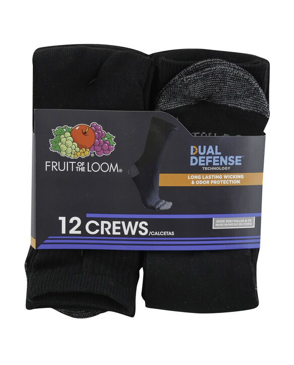 Men's Dual Defense Crew Socks, 12 Pack, Size 6-12 BLACK/GREY
