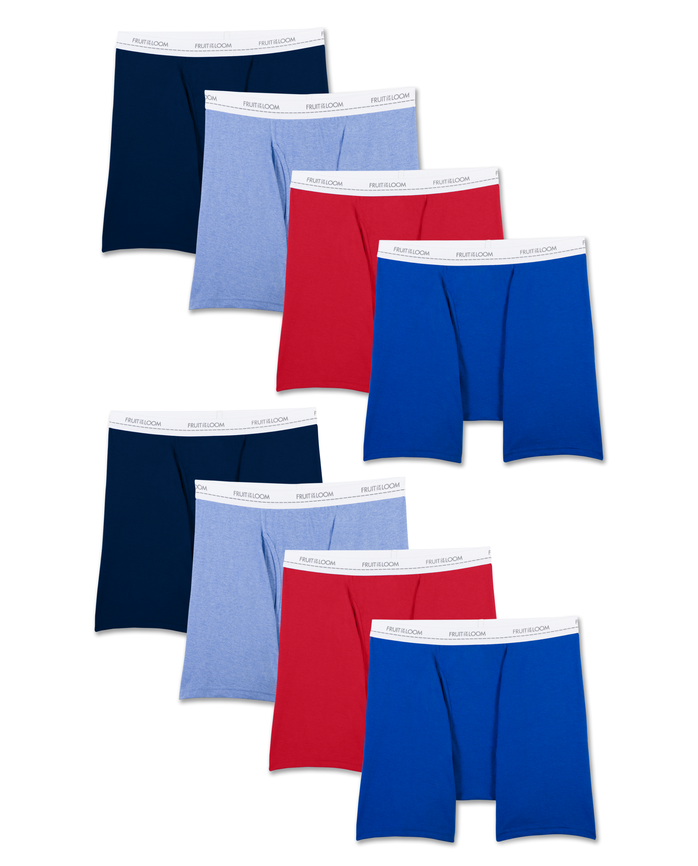 Men's Active Cotton Blend Boxer Briefs, 8 Pack
