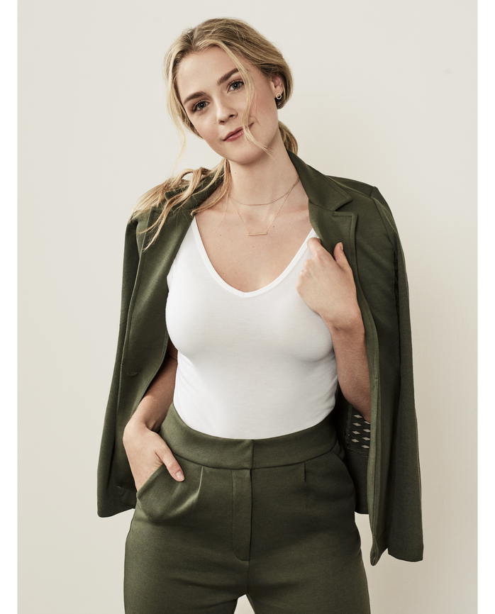 Women's Seek No Further Women's High Waisted Pleated Fit and Flare Pants Military Green