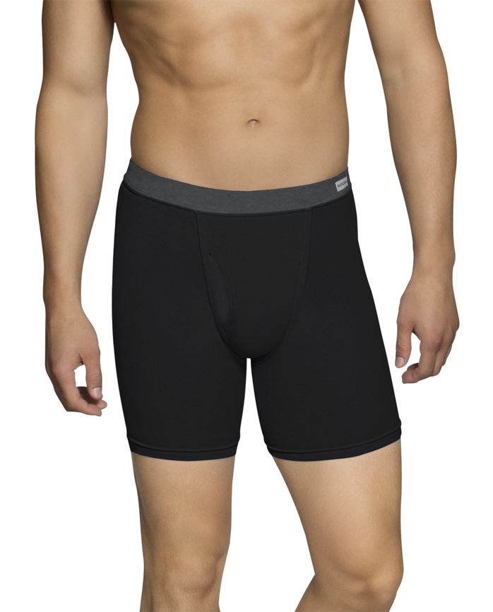 Men's Dual Defense Soft Covered Waistband Boxer Briefs, 4 Pack, Extended Sizes Assorted Color