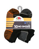 Boys' Cushioned No Show Socks, 10 Pack JET BLACK/VIBRANT ORANGE,JET BLACK/HIGH RISK RED, JET BLACK/LEMONCH,JET BLACK/B50, JET BLACK/DIRECTOR BLUE, JET BLACK/B50, JET BLACK/B50, JET BLACK/B5