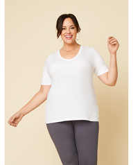 Women's Seek No Further Plus Size Short Sleeve V-Neck T-Shirt Pearl White