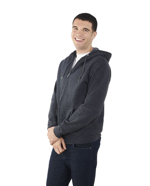 Big Men's EverSoft Fleece Full Zip Hoodie Jacket, 1 Pack Black Heather