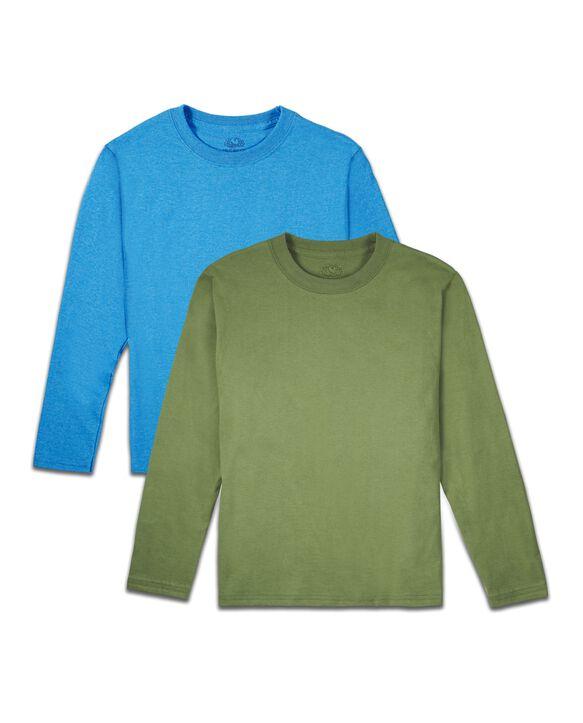 Boys' Super Soft Solid Multi-Color Long Sleeve T-Shirts, 2 Pack Rainforest Asst.