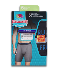 Men's Breathable Cotton Micro-Mesh Black and Gray Long Leg Boxer Briefs, 5 Pack ASSORTED