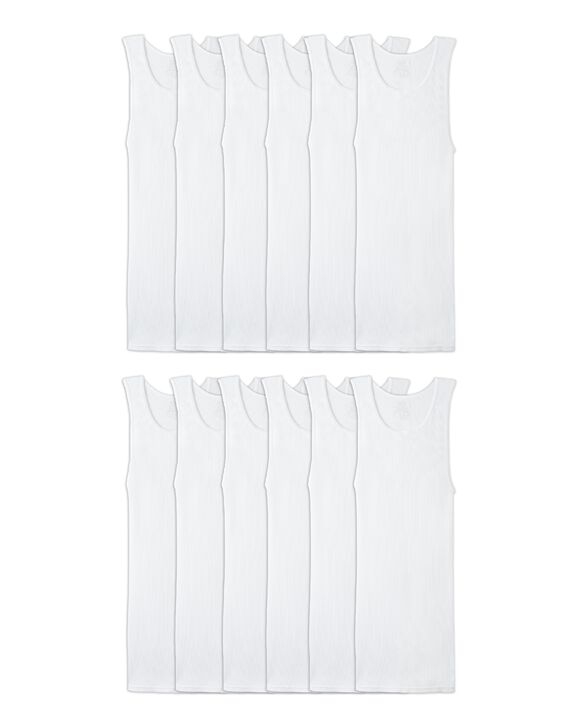 Men's White A-Shirts, 12 Pack