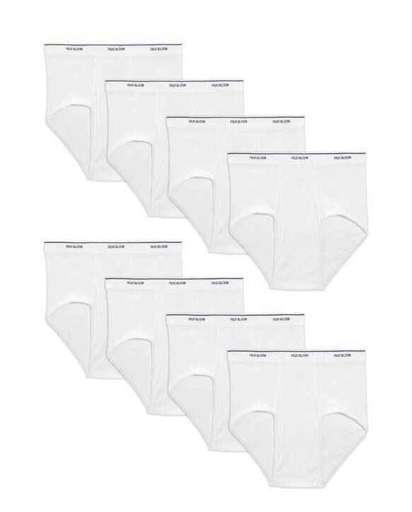 Men's Cotton White Briefs, Extended Sizes, Value 8 Pack White