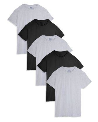 Men's Short Sleeve Black and Gray Crew T-Shirts, 5 Pack
