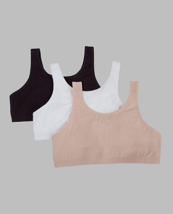 Girls' Cotton Stretch Sports Bra, 3 Pack WHITE/BLACK/SAND