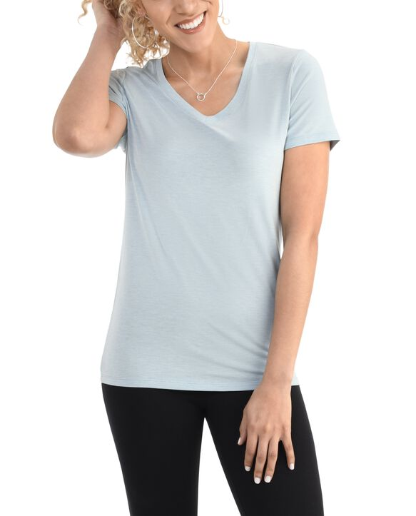 Women's  Seek No Further Short Sleeve V-Neck T-shirt Bayou Blue