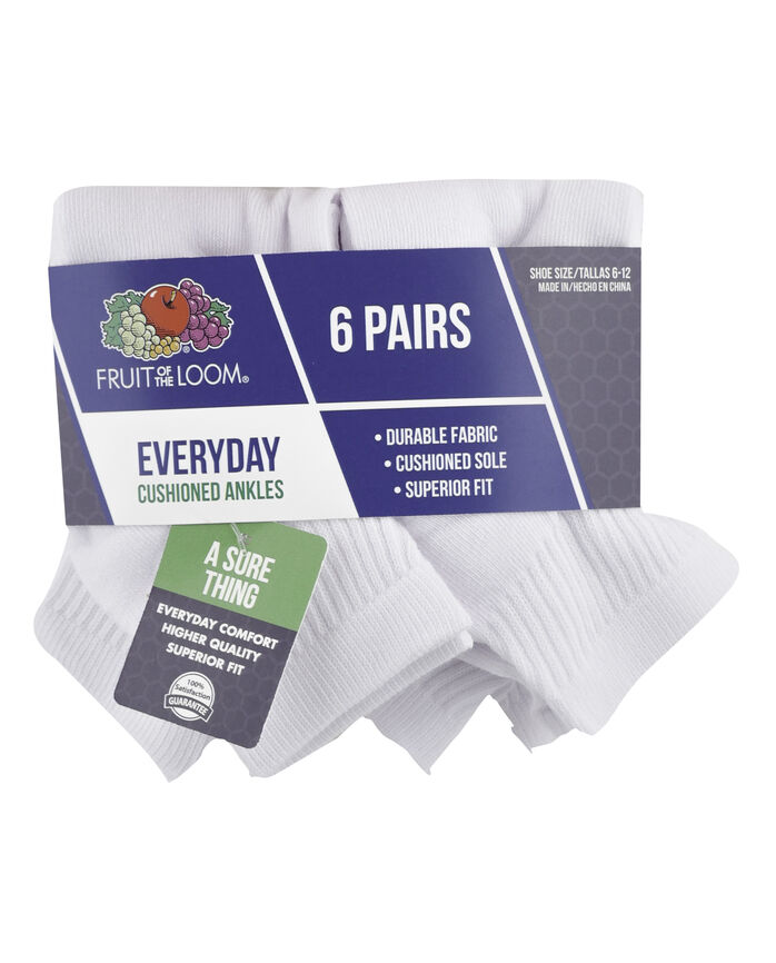 Men's Cushioned Ankle Socks, 6 Pack, Size 6-12 WHITE