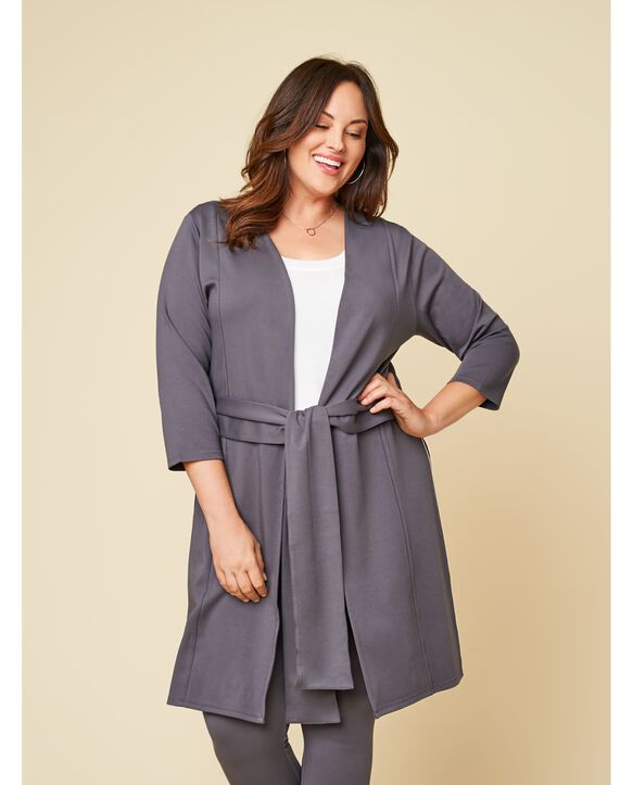 Women's Seek No Further Plus Size Ponte Open Front Long Cardigan Charcoal
