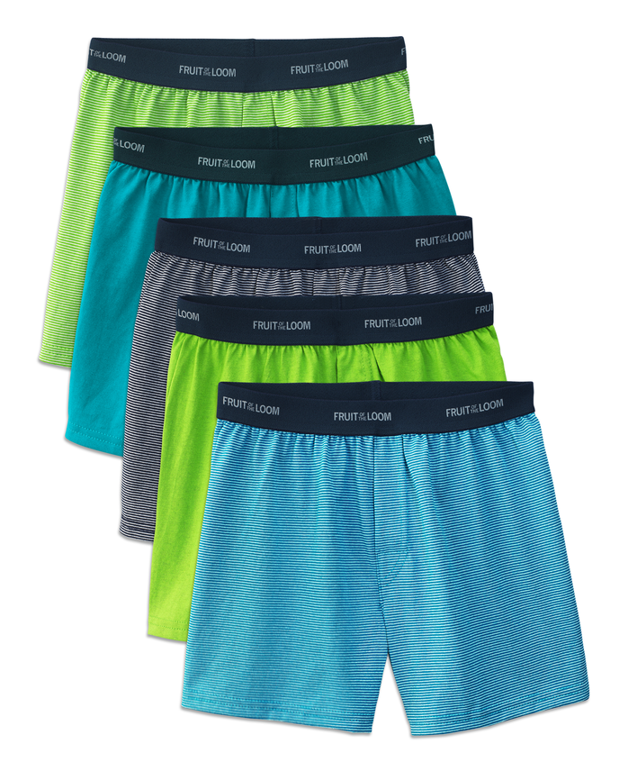 Fruit of the Loom Boys' Stripe/Solid Knit Boxers, 5 pack