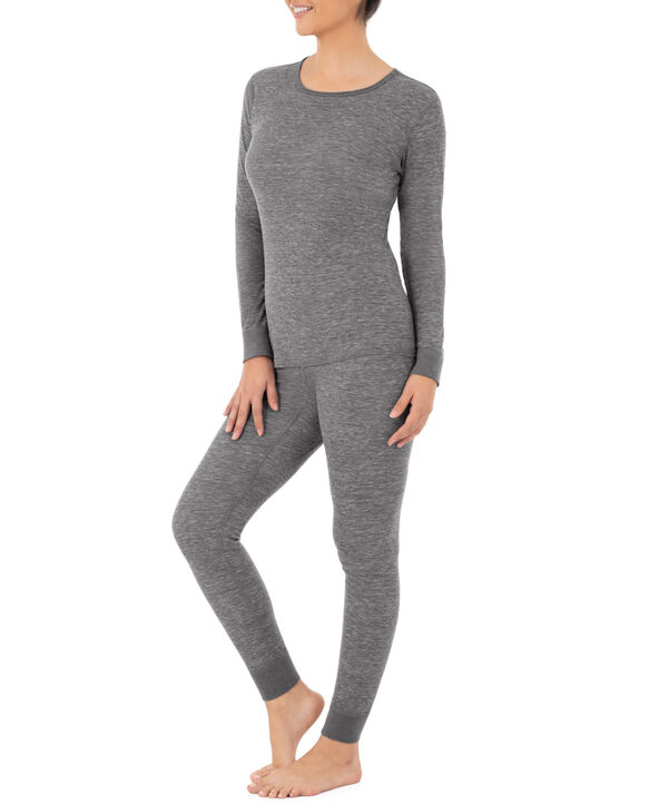 Women's Thermal Crew Top & Bottom Set SMOKE INJECTION HEATHER/ SMOKE INJECTION HEATHER