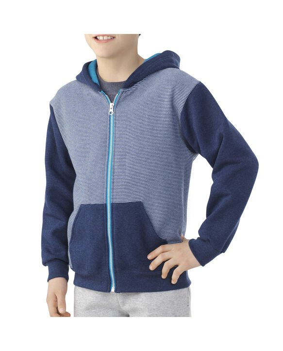 Boys' Fleece Full Zip Hoodie, 1 Pack Smoke Blue Stripe