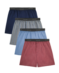 Men's Exposed Waistband Boxers, 4 Pack, Extended Sizes Assorted