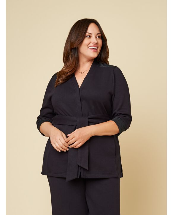 Women's Seek No Further Plus Size ¾ Sleeve Stretch Tie Jacket Brilliant Black