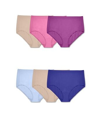 Women's Plus Fit for Me Assorted Beyondsoft Brief Panty, 6 Pack