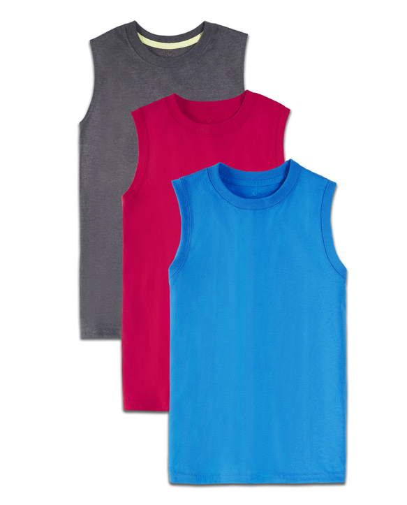 Boys' Super Soft Solid Multi-Color Sleeveless Muscle Shirts, 3 Pack Varsity Asst.