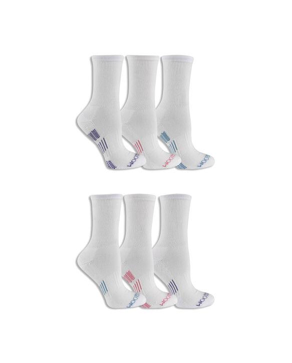 Women's Everyday Active Crew Socks Pair, 6 Pack WHITE/PURPLE, WHITE/PINK, WHITE/TEAL