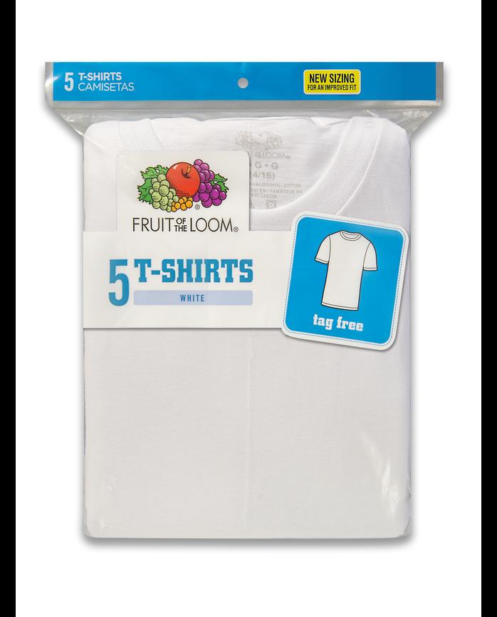 875b8ae11fcc Boys' White Crew Neck T-Shirts, 5 Pack | Fruit