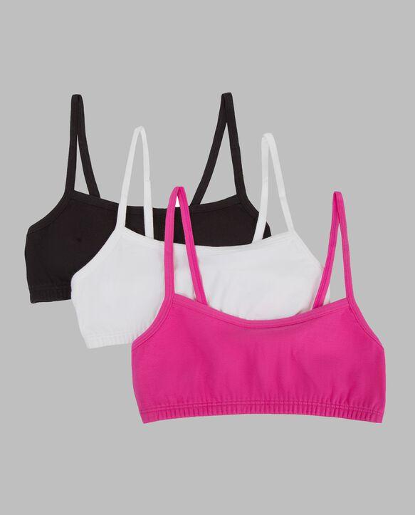 Girls' Spaghetti Strap Sport Bra, 3 Pack BLACK/ PASSION FRUIT/WHITE