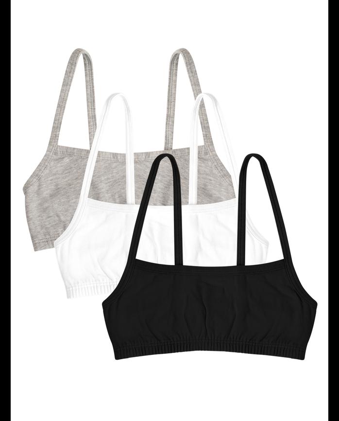 Girls' Spaghetti Strap Sport Bra, 3 Pack HEATHER GREY/ BLACK/ WHITE